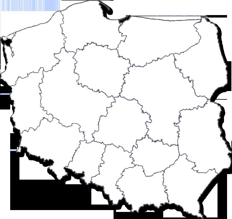 Mapa Polski z podziałem na województwa